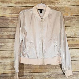 Forever 21 Light Pink Silk Bomber Jacket